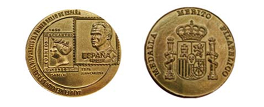 Medallas de Oro al Mérito Filatélico a D. Javier Santos y D. Francisco Quiroga