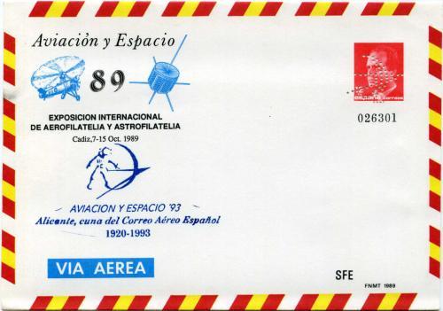 1989. Aviación y Espacio. Cádiz. Matasellado