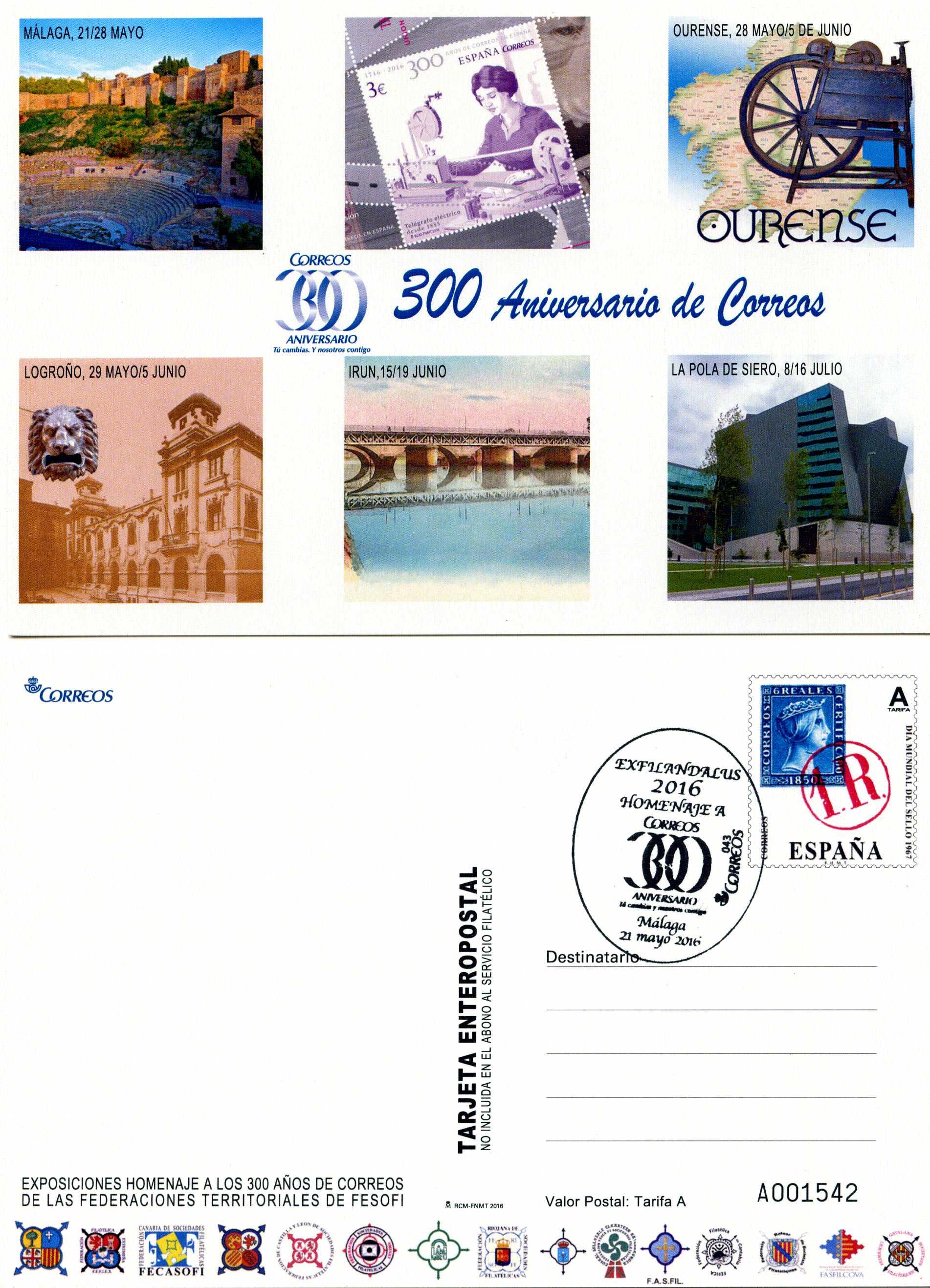 2016. Convención Nacional Filatélica y Numismática. Málaga. Fesofi