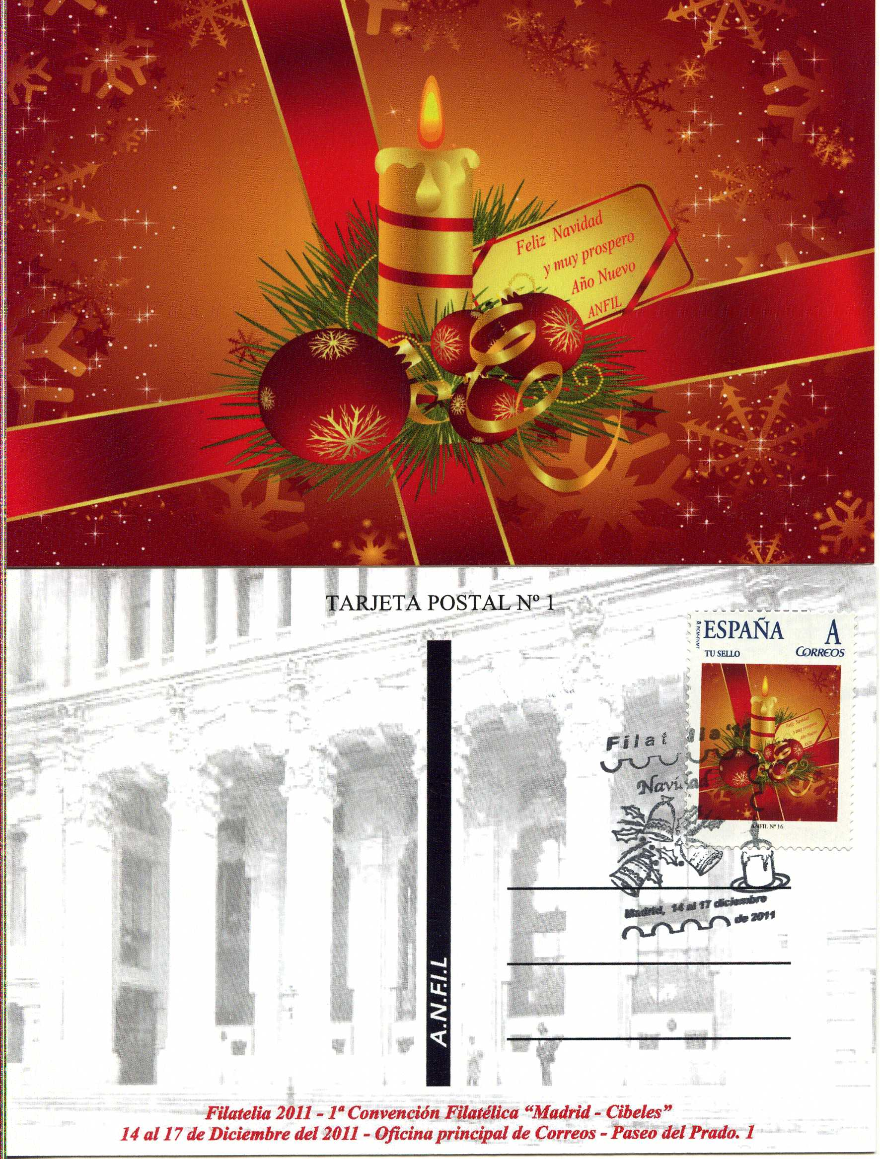 2011. Tarjeta Postal ANFIL Navidad. Máxima